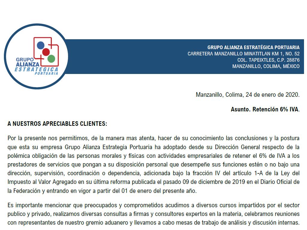 COMUNICADO A NUESTROS APRECIABLES CLIENTES - RETENCIÓN 6% IVA.